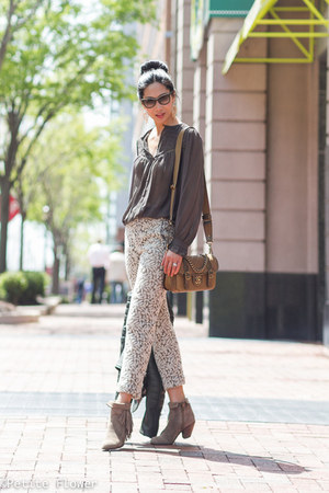 dark green Celine jacket - tan sam edelman boots - gold Chanel bag