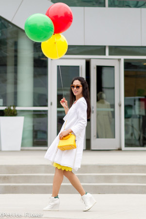 yellow Rebecca Minkoff skirt - white skirted linen Marni coat