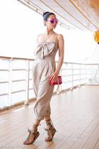 red Saint Laurent bag - beige MSGM romper - brown Isabel Marant sandals