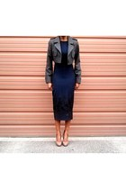 navy midi H&M dress - gray military H&M jacket - camel leather Aldo pumps
