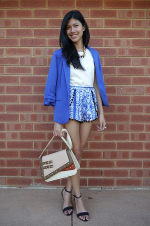 blue Valley Girl blazer - no name brand shorts - black Sidewalk heels