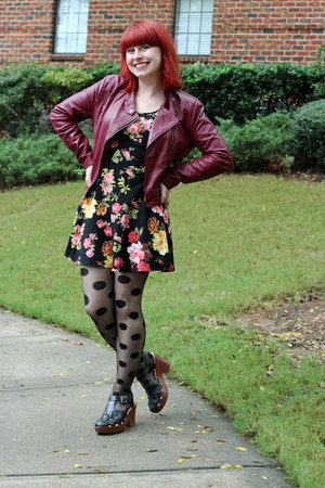 black Ross dress - maroon faux leather Forever 21 jacket