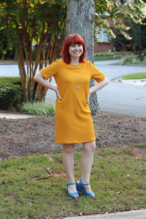 mustard shift Forever 21 dress - sky blue xappeal wedges
