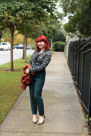 tawny asos jacket - navy pussy bow Vero Moda blouse