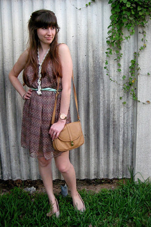 brown dress - gray blazer - camel bag - pearls necklace