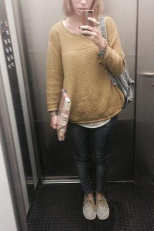 sky blue ripped Primark jeans - mustard wool sweater