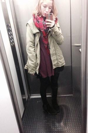 red tartan Zara scarf - black chelsea boots - crimson skater H&M dress