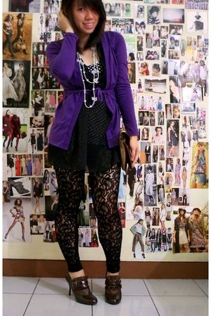 purple cardigan - black stockings - black top - brown shoes - brown purse