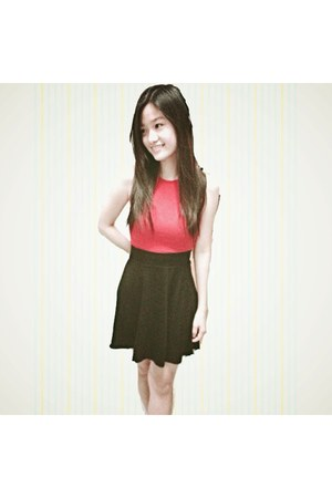 black skirt - red top