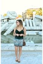 brown Primark bag - sky blue Primark shorts - camel Primark flats