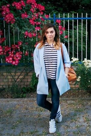 blue skinny Topshop jeans - light blue Stradivarius coat - tawny H&M bag