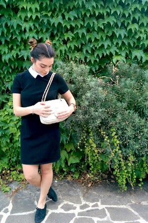 black Stradivarius dress - cream Chanel bag - black H&M flats