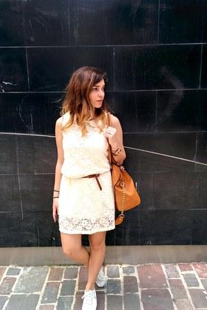 gold rose gold Michael Kors watch - cream jennyfer dress