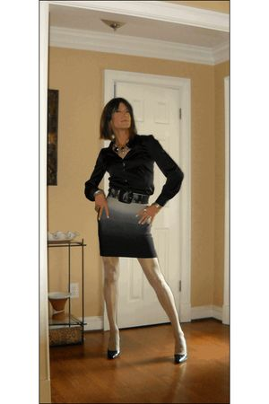 black ann taylor blouse - gray INC International Concepts skirt - black TJ Maxx