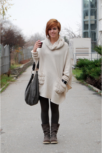 boots - sweater - tights - bag
