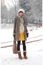 boots - dress - coat - tights - scarf - accessories