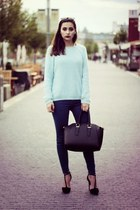 light blue new look sweater - black Stradivarius heels
