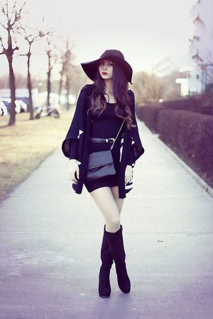 black Nelly boots - black H&M hat - black H&M bag - black Tally Weijl cardigan