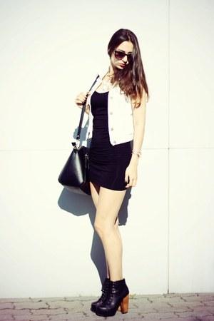 black new look dress - light blue jean Tally Weijl vest