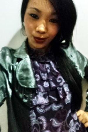 chiffon blouse - satin blazer