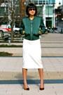 Green-club-monaco-jacket-boyfriend-ray-ban-sunglasses-white-midi-zara-skirt