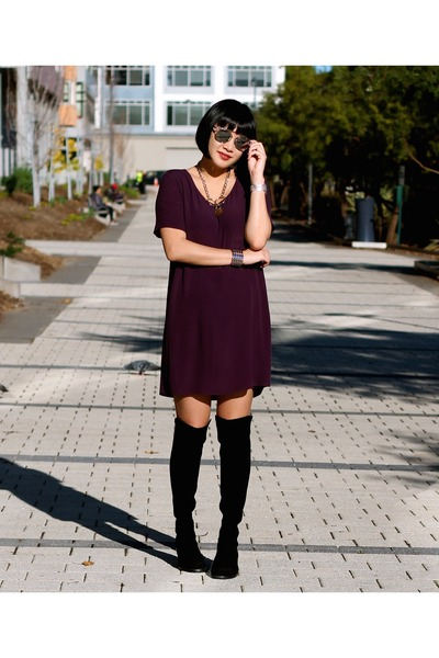 stuart weitzman boots - purple Aritzia dress - dior sunglasses