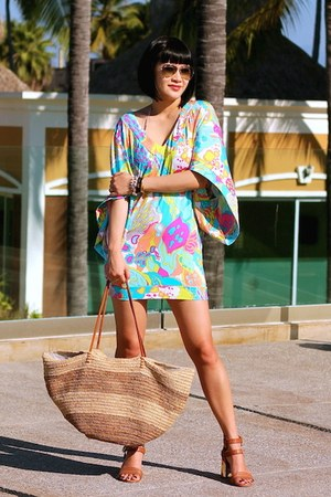 Trina Turk dress - Burberry swimwear - Dolce Vita sandals