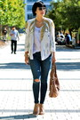 sequin haute hippie jacket - skinny Joes Jeans jeans - brown Gucci bag