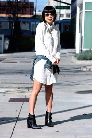 denim madewell jacket - black Tibi boots - white Aritzia dress