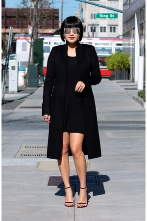black Aritzia dress - black All Saints coat - aviator christian dior sunglasses