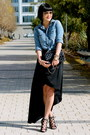 Black-silk-bcbg-dress-denim-madewell-shirt-black-chanel-bag