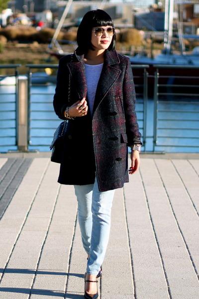 navy plaid wool Zara coat - Gap jeans - white tshirt Club Monaco shirt 59e0dcb4ac3