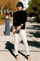 black Club Monaco sweater - gray Gap jeans - Chanel bag - ray-ban sunglasses