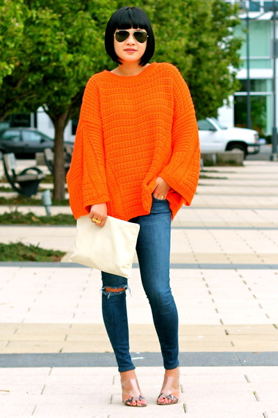 orange Zara sweater - mules Guess shoes - Joes Jeans jeans