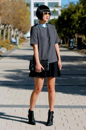 grey Club Monaco shirt - black Tibi boots - Chanel bag