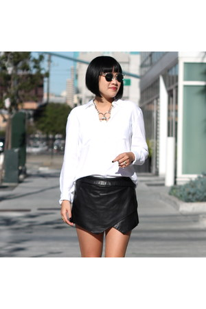 white Aritzia shirt - white oxfords asos shoes - Aritzia shorts