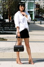 Express-shirt-black-chanel-bag-navy-blue-club-monaco-shorts