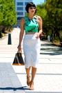 Crop-topshop-top-nude-chloe-shoes-louis-vuitton-bag-white-zara-skirt