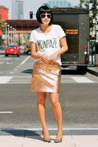 rose gold lame Club Monaco skirt - white Club Monaco t-shirt