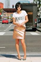 rose gold lame Club Monaco skirt - white Club Monaco t-shirt