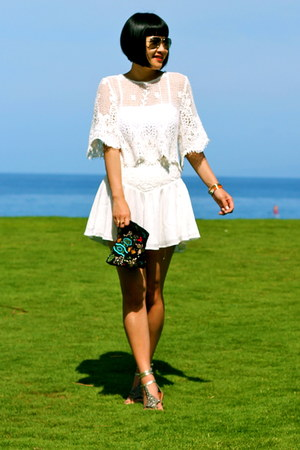 white Naive Nation skirt - beaded Zara bag - gladiator sam edelman sandals