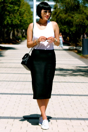 black Chanel bag - faux leather Zara skirt - white Superga sneakers