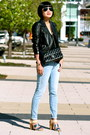 Blue-gap-jeans-black-leather-club-monaco-jacket-black-chanel-bag
