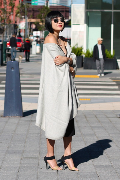 grey Cuyana cape - black Babaton dress - silver dior sunglasses