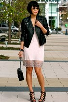 leather Club Monaco jacket - pink chemise calvin klein dress - black Chanel bag