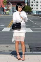 white Aritzia dress - white Club Monaco sweater - black Chanel bag