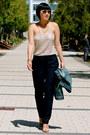 Denim-madewell-jacket-aviator-ray-ban-sunglasses-nude-michael-kors-heels