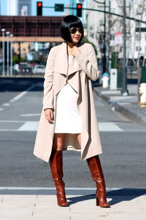 trench Club Monaco coat - brown tory burch boots - white Reformation dress