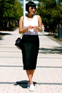Black-chanel-bag-white-superga-sneakers-faux-leather-zara-skirt