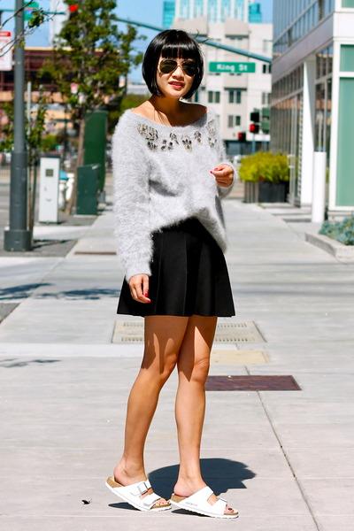 grey Club Monaco sweater - black Club Monaco skirt - white Birkenstock sandals